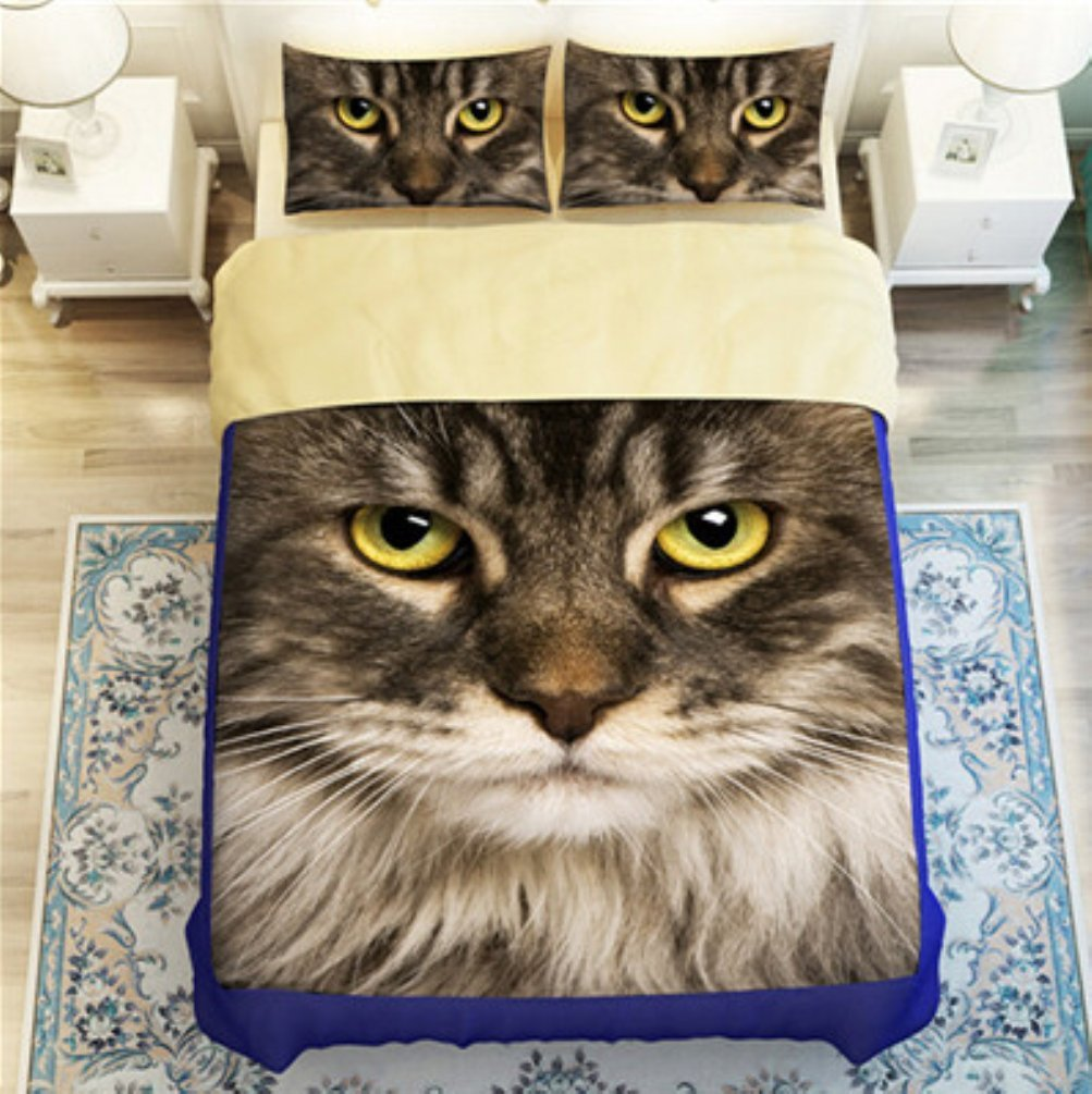 Bobbycool 3D Meow Star People Bedding Sets Comforter Black Gray Cotton Kids Bed Sheet Bed Cover Pillow Sets