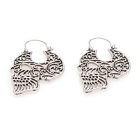 Fashion Personality Men and Women Hollow Carve Skull Skeleton Punk Alloy Stud Earrings