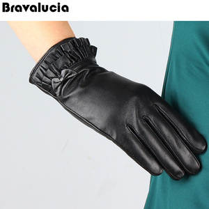 NEW women's leather lambskin winter warm soft rabbit fur cuffs gloves mittens
