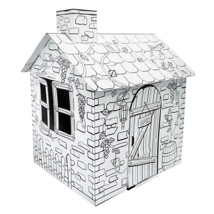 Educational Little Rattan Color Graffiti Small Toy House For <strong>Kids</strong> , Paper Toy House