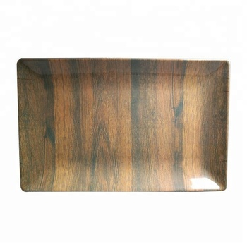 FDA Approved Wood Print Melamine Houseware Tray Fruit Tray