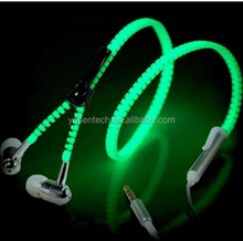 Zipper Luminous Earphone Glow Glowing Stereo Bass Sport Running Earphone Handsfree For phone mp3