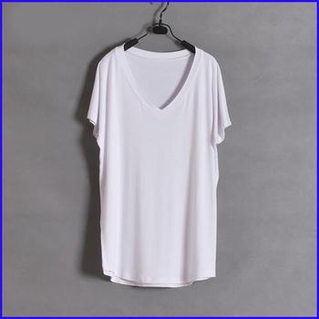 b4103ec0dd85 Women summer hot blank white t shirt customize lady v-neck loose cuff women  t