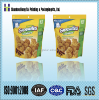 Hongtai gravure printing plastic flexible packaging laminated materials biscuit reclosable bag resealable pouch