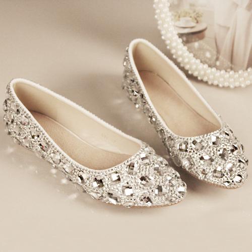 2015 New Women Handmade Shining Crystal Wedding Shoes Flat