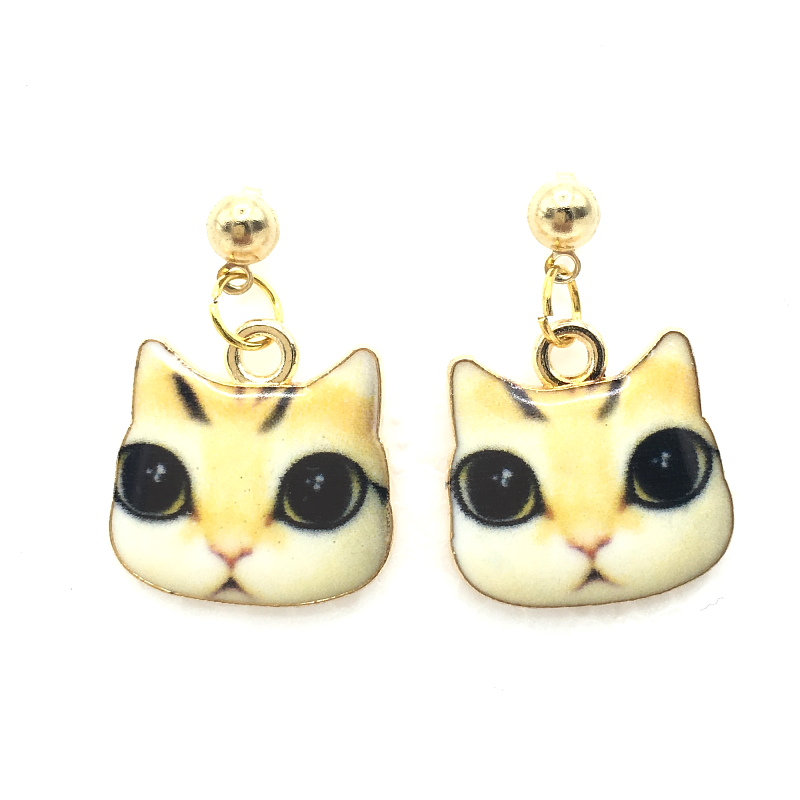 2016 New Arrival Cute Colorful Cat Kitty Earrings Long Drop Beads Earring for Women Accessories Summer Style Jewelry