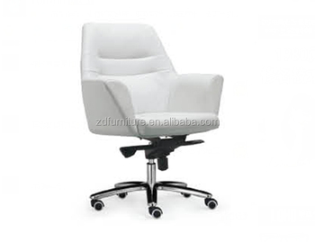white genuine leather office chair with metal leg hy 108b