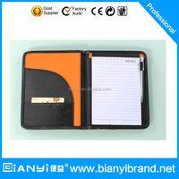 Emboss your LOGO Accept custom design leather ring binder portfolio/file binder/handmade leather file folder