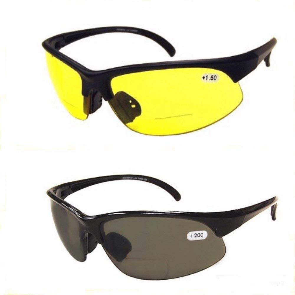 772c4dc280 Get Quotations · 2 Pair of Bifocal Half Rim Sports Style - Yellow Smoke  Lens - Outdoor Reading