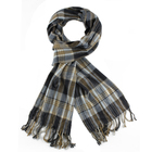 Men's acrylic striped check fringes woven scarf
