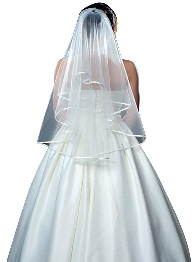 Bridal Veil with Comb for Wedding Party Two Layer Ribbon Edge Short Tulle Wedding Veils Wedding Accessories