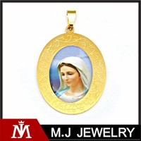 Yellow Gold Plated Religion Marian Pendant with Scripture