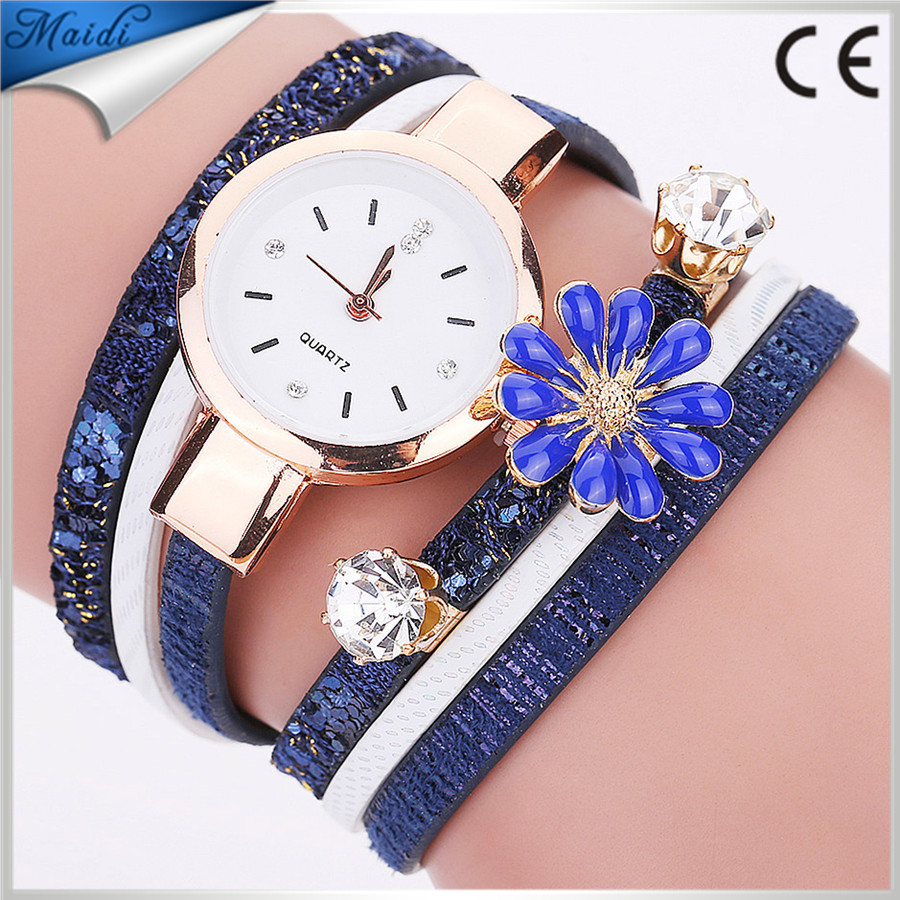 Ladies Brand Luxury Flower Bracelet Wrist Watch Women Dress Leather Wrapped Watches Ladies Quartz Wristwatches WW095