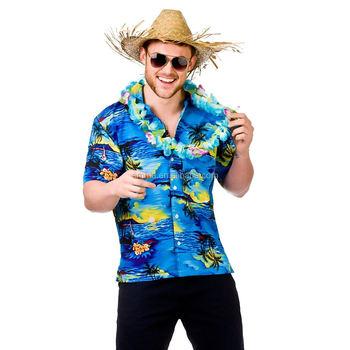 994b4c2de1a Fancy Dress Adult Mens Hawaiian Beach Party Blue Palm Costume Luau Tropical  Aloha Costumes BMG13119