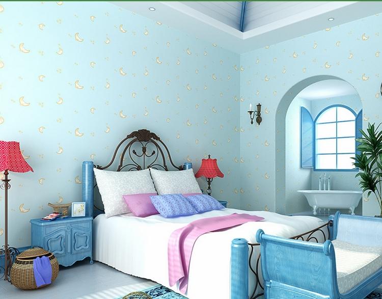 Light Blue Wallpaper For Boys And Girls Room Moon Face