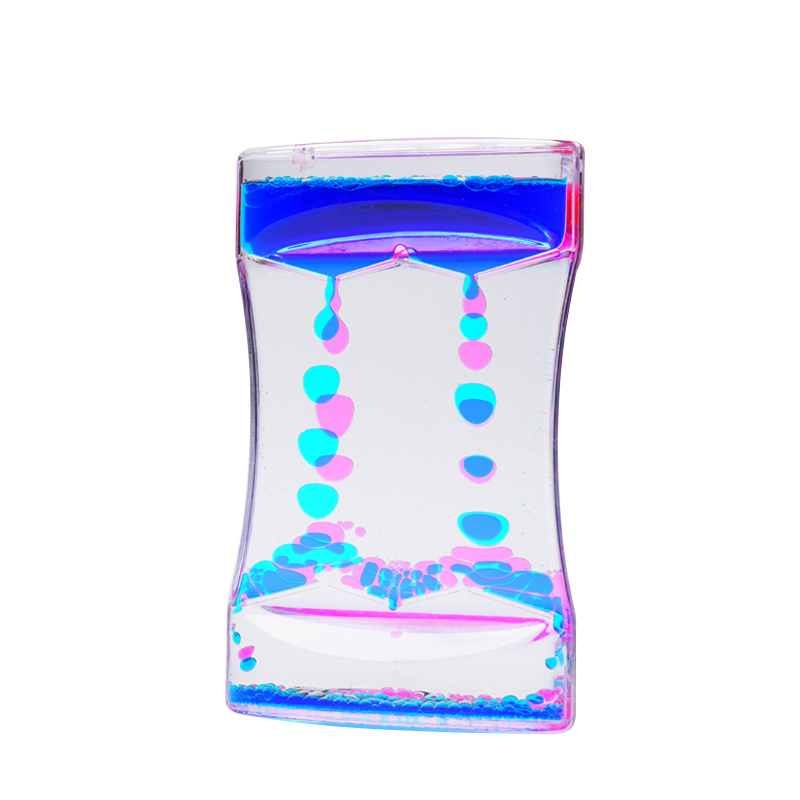 Custom colorful liquid oil droplets downward large hourglass sand timer