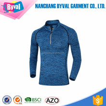 Hot Sale Half Zip Men Dry Fit Long Sleeve Polyester Spandex Shirt