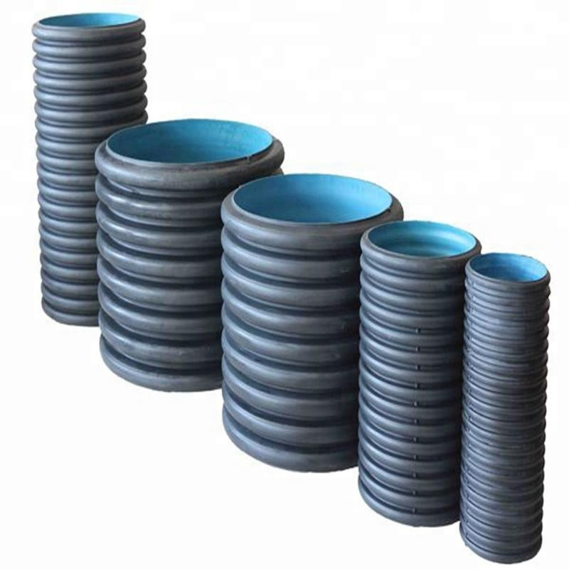 Hdpe Plastic Large Diameter Steel Reinforced Polyethylene Spiral Corrugated Pipe Pe Double wall Corrugated Pipe With Steel Belt