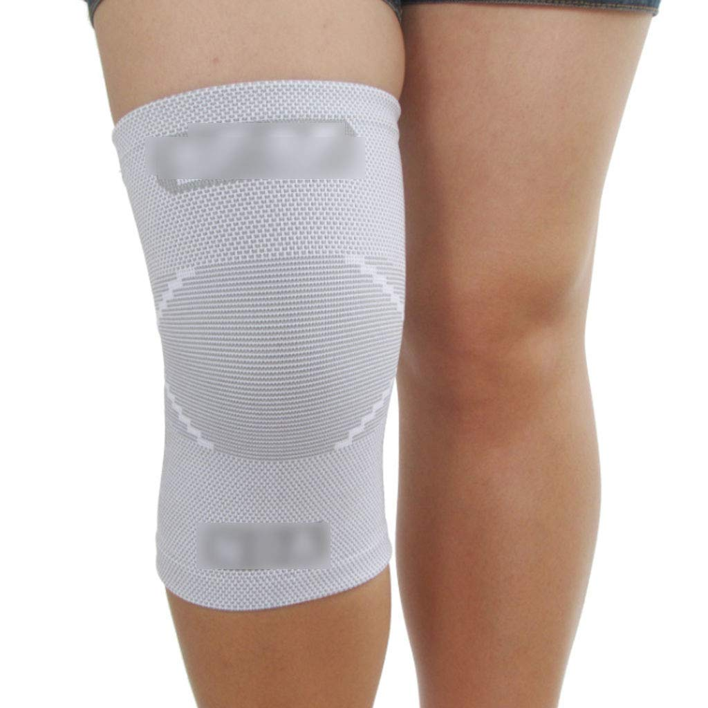 Knee Pads Kneepad protective gear white high elastic anti-slip breathable knee sports knee pads men and women fitness mountaineering warm outdoor protective gear ( Color : White , Size : M )