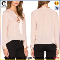 wholesale customize traditional soft 100 silk blouse designs bow neck pink blouse