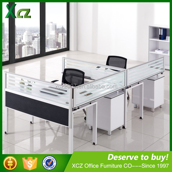 Modern Design Partition L Shape Office Cubicle Open Office Workstation For 2  People