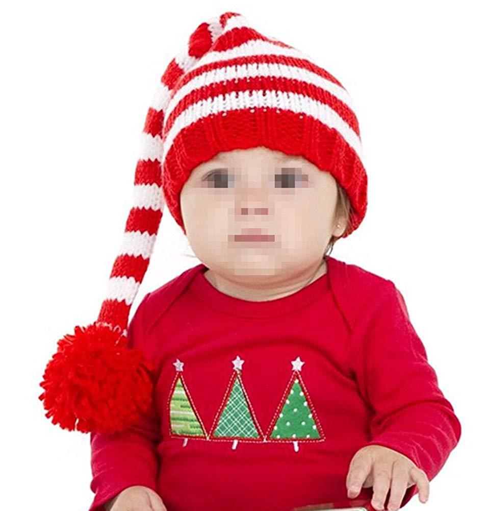 80d9e00d22f Get Quotations · Kafeimali Baby Christmas Elf Long Tail Crochet Beanie Knit  Hat Stocking Caps
