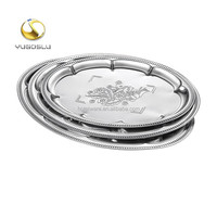 Hot Sales Eco-friendly Safe Plates Silver Dinner Plates Stainless Steel Oval Plate