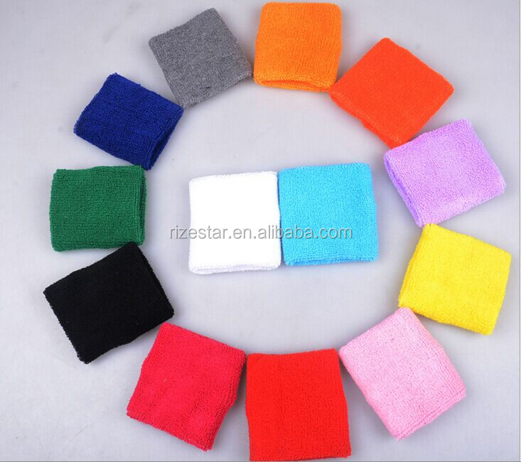 custom terry cloth woven wristbands terry 100% cotton Embroidered sports  sweatband