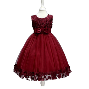 Kids party dress wholesale baby velvet girls summer maxi lace kids dresses for birthday wedding party LL314