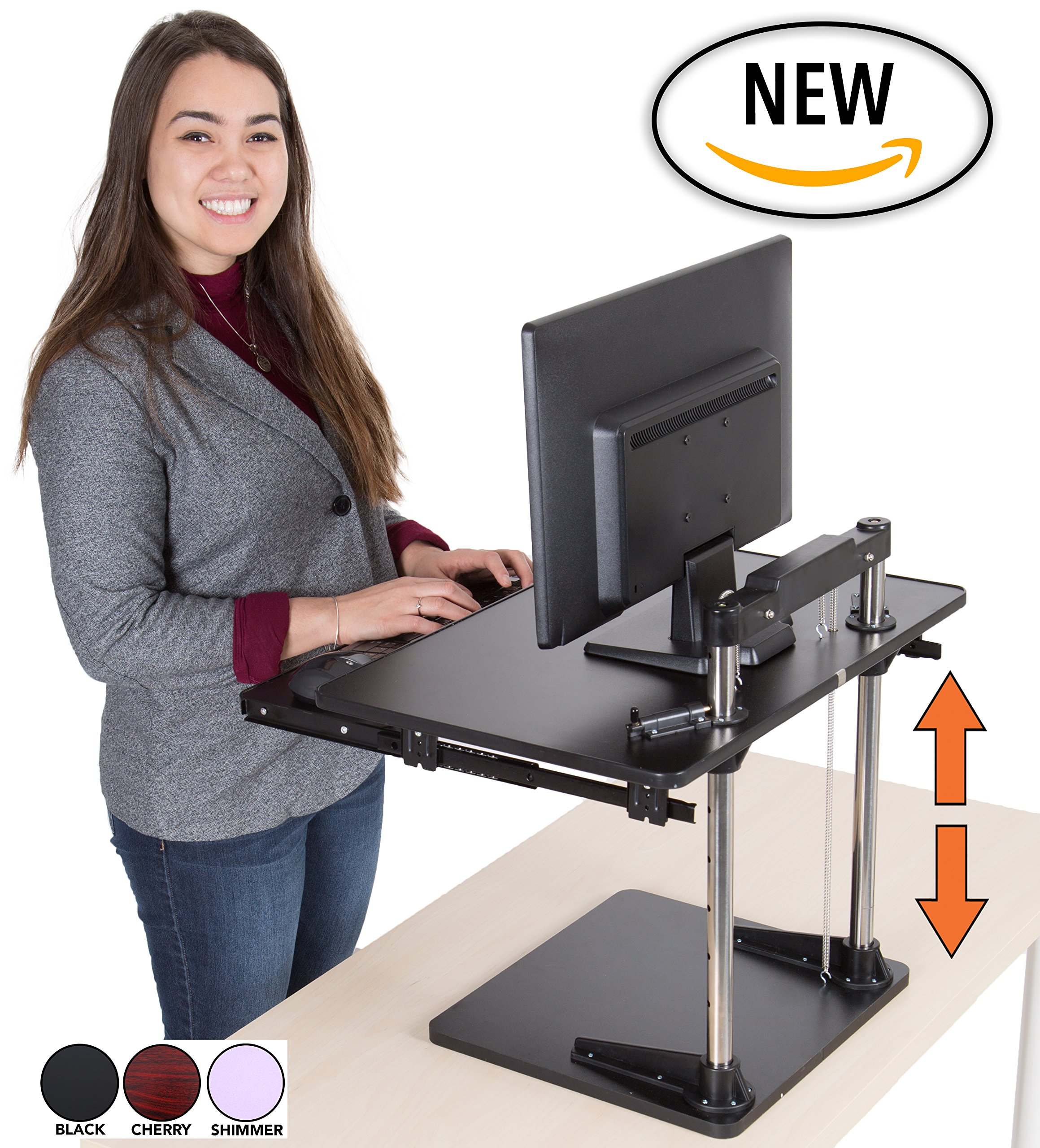 The UpTrak Metro Standing Desk & Bonus Keyboard Tray | Sit-to-Stand Desk Converter by Award-Winning Stand Steady | Spring-Assisted LIFT! Height Adjustable Sit Stand Desk! (Shimmer)