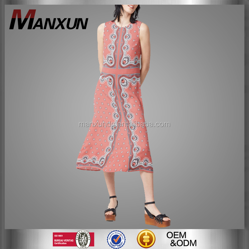 Wholesale Woman Clothing OEM And ODM Vest Dress Floral Print Dresses