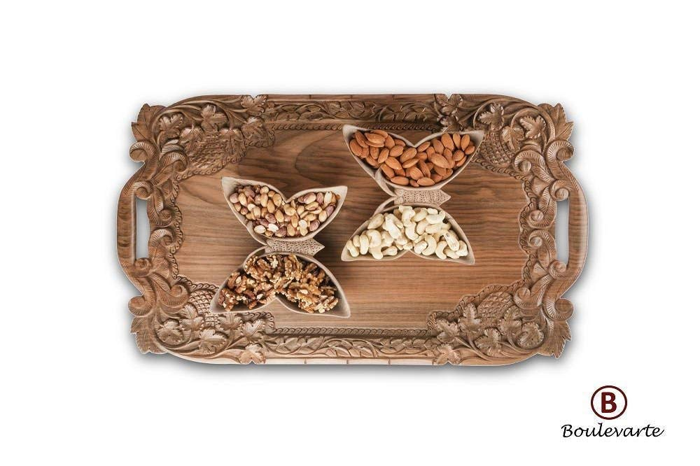 """Boulevarte Handmade Wooden Serving Tray with Handles 