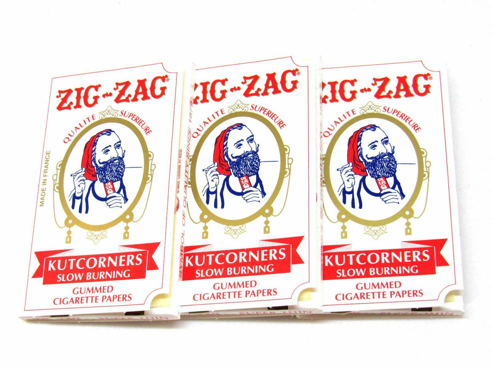Pack of 3 32 Papers Per Pack Kutcorners Cigarette Rolling Papers by Zig Zag USA