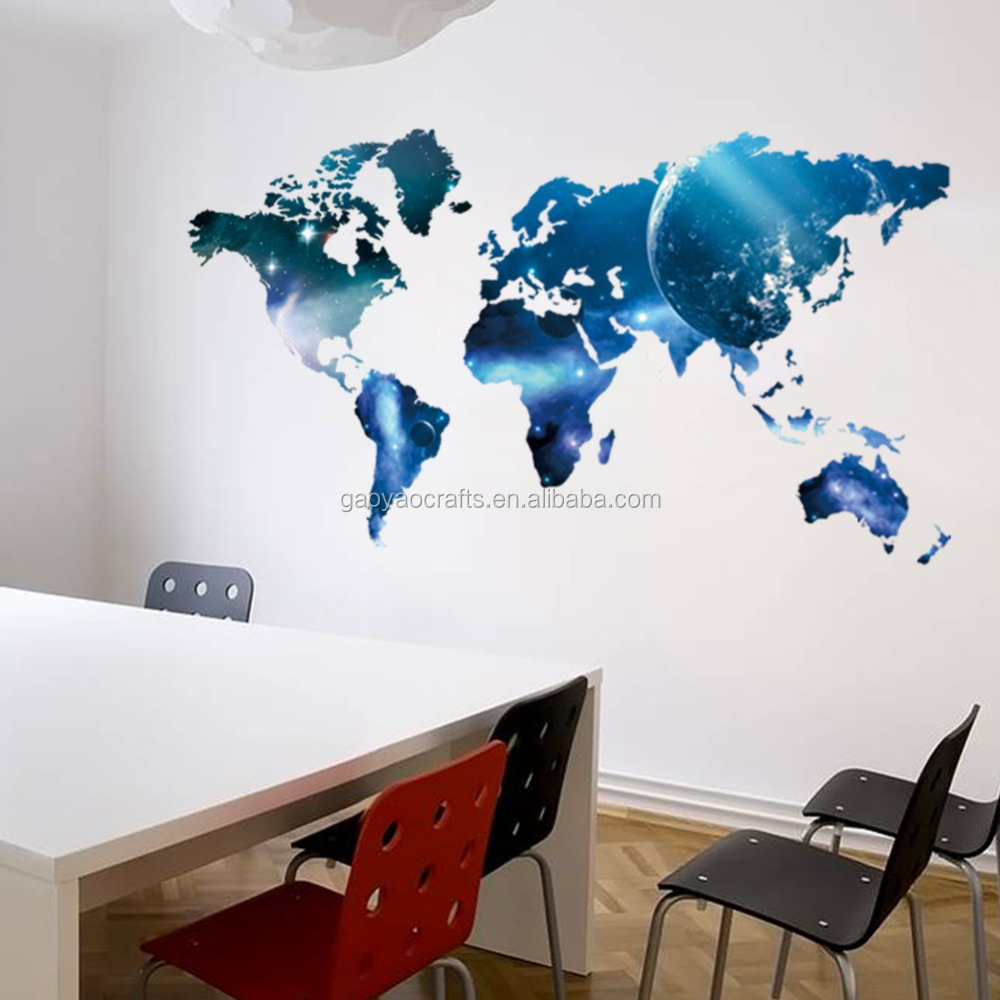 Commercio all'ingrosso 3D stampa a colori Pianeta mappa Del Mondo wall sticker room decor casa salone stickers murali decorativi