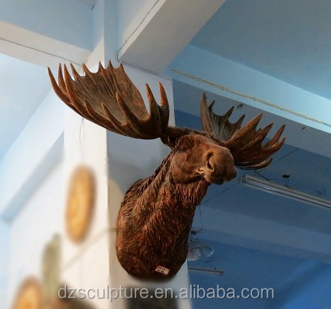 Provide animal head wall arts decoration resin life size moose head statue