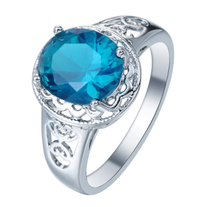 new product blue CZ zircon rings jewelry women silver plated rings
