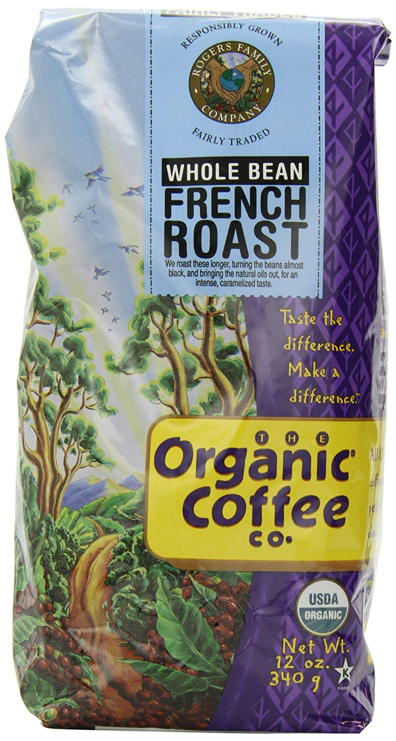 The Organic Coffee Co. Whole Bean, French Roast, 12 Ounce (Pack of 3)