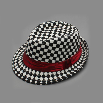2fab557b127fc Hot selling black and white plaid men fedora hat borsalino trilby hat with  red ribbon