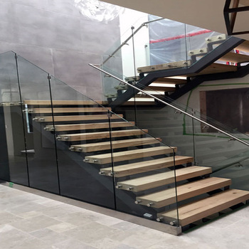 Interior Wooden Stainless Steel Railing Staircase Glass ...