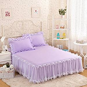 gangnumsky3-Pieces Solid Color Lace Luxury Bedding Sets Queen Bed Sets For Girl Bed Sheet Set Pillow Case Customizable-B