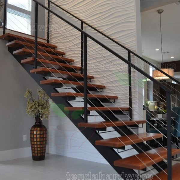 L Shape Alternating Stairs With Rubber Wood Treads