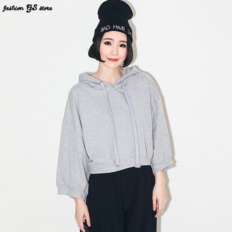 2015 New arrival autumn solid fashion style lantern sleeve O- Neck short  hoodies for women casual sweatshirts tops