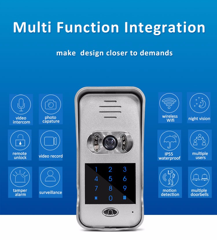 TL-WF02 wireless home security system door viewer peephole doorbell with rain cover