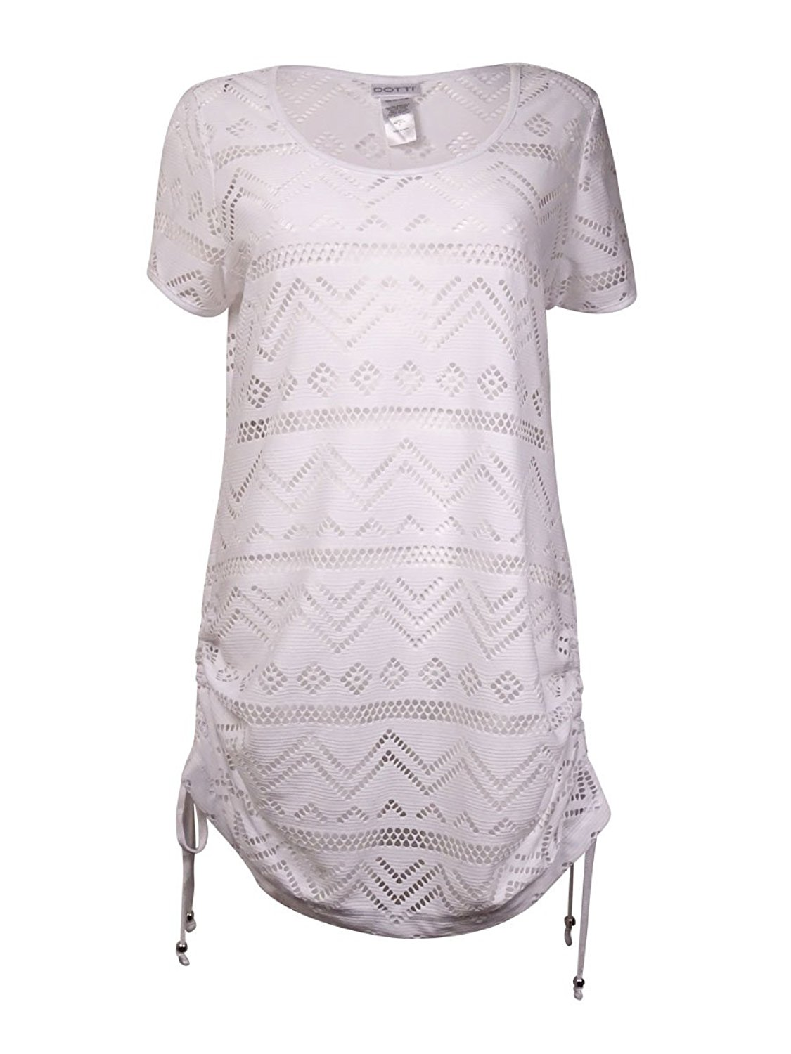 Dotti Cinch Tie Perforated Tunic Cover Up Women's Swimsuit White