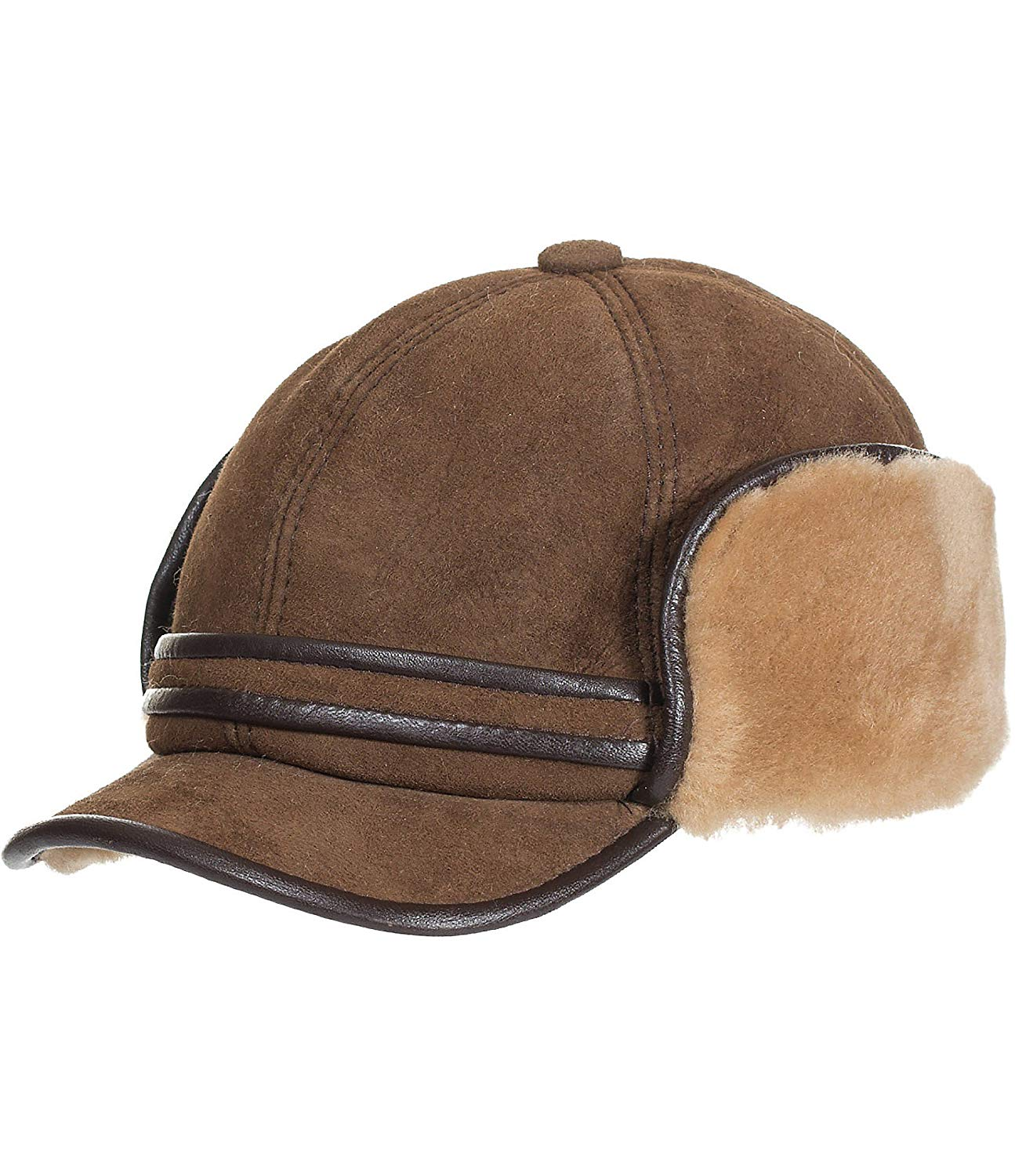 555a043b480 Get Quotations · Shearling Sheepskin Cadet Cap with Snap Flaps