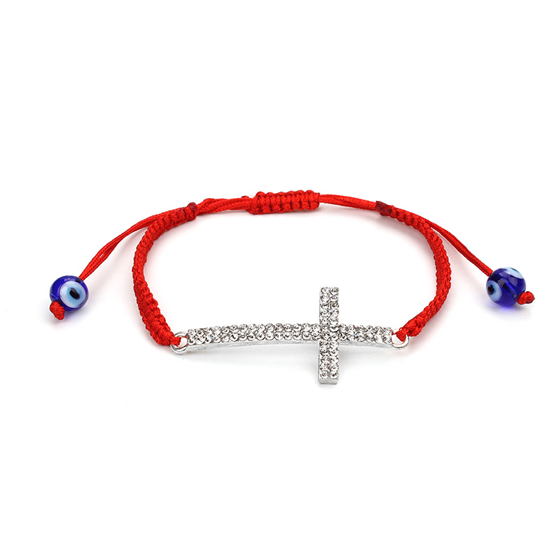 New Luxury Crystal Cross Blue Evil Eye Pendant Charms Bangle Red Rope Braided String Bracelet, As picture