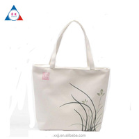 Promotional Custom Logo White Printed Organic Calico Cotton Canvas Tote Bag