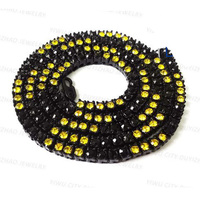 Fashion black plated black&yellow stone hip hop chain necklaces