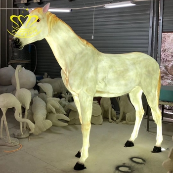Custom christmas home decor fiberglass resin New product LED light Life size horse statue