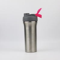 Custom 800ml single wall 304 stainless steel leak proof protein shaker cup bottle with steel ball